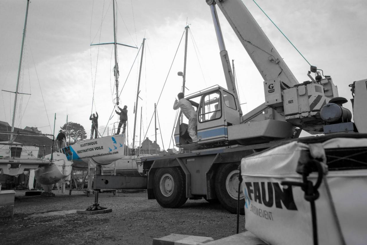 Sortie de chantier et matage pour le figaro FAUN Environnement / Martinique Destination Voile